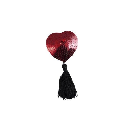 Nipple Cover Coração Pompom Vermelho