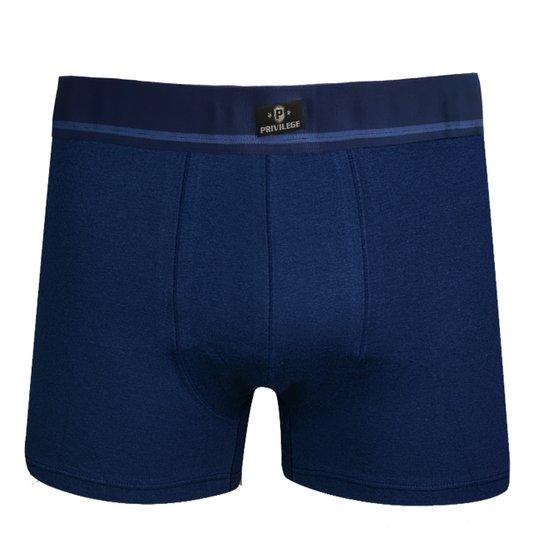 Cueca Boxer Cotton Lisa Privilege Azul Marinho