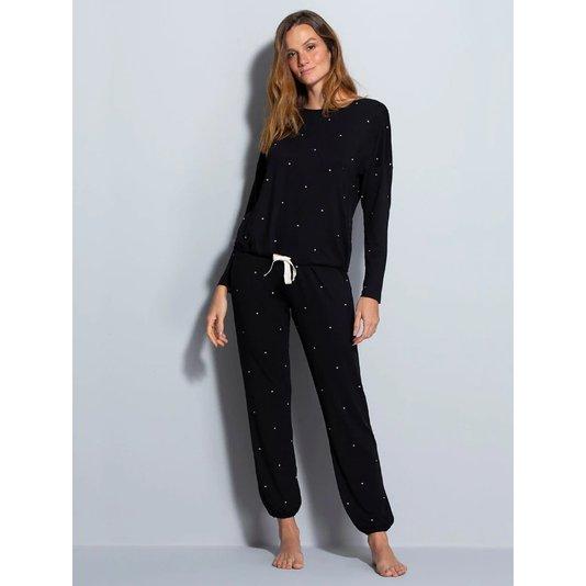 Pijama longo Dreams Hope Preto Poá