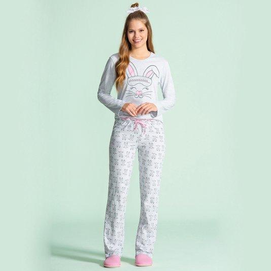 Pijama Manga Longa Feminino Adulto Coelhos