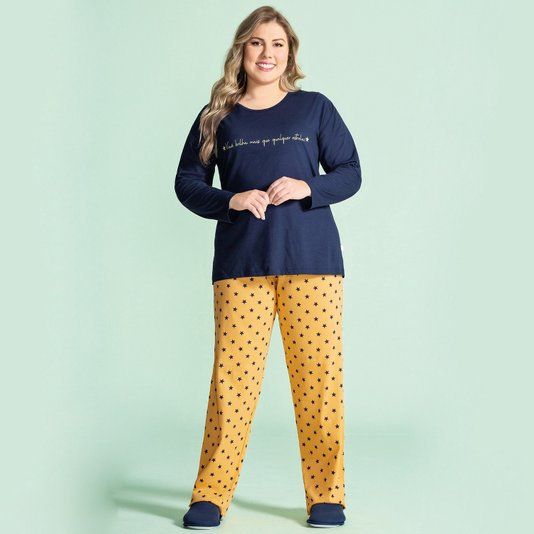 Pijama Manga Longa Feminino Adulto Plus Estrelas