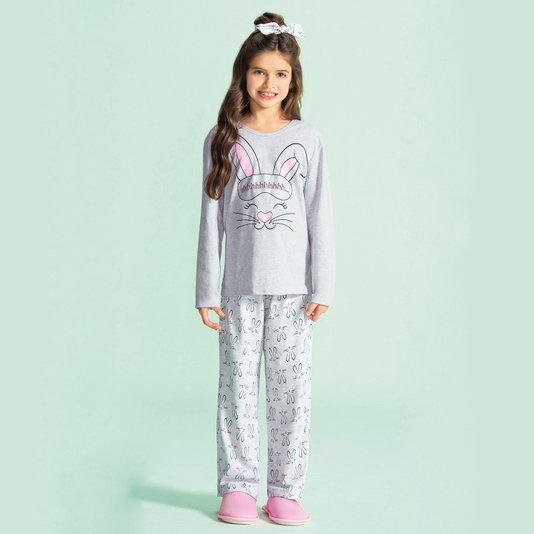Pijama Manga Longa Feminino Juvenil Coelhos