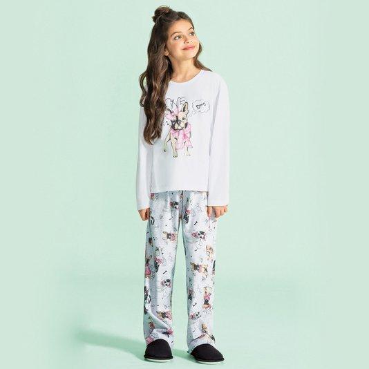 Pijama Manga Longa Feminino Juvenil Dog Lovers