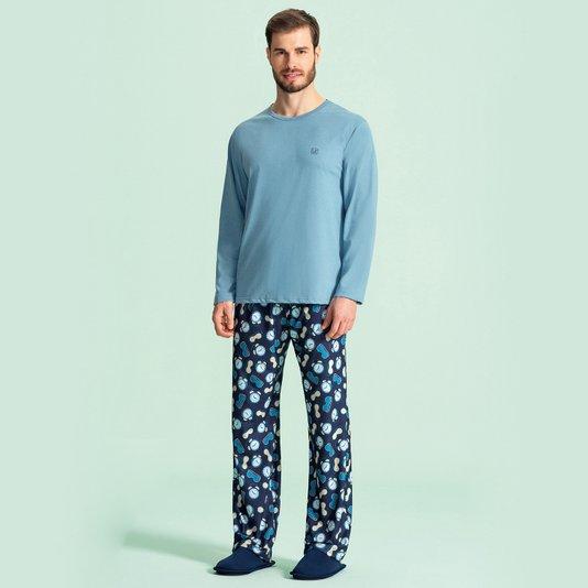 Pijama Manga Longa Masculino Adulto Hora de Dormir Azul