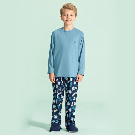 Pijama Manga Longa Masculino Infantil Hora de Dormir Azul