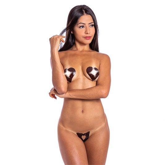 Tapa Sexo Comestivel Karamela Coração Chocolate